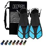 BPS Short Adjustable Swim Fins - Open-Toe and Open-Heel...